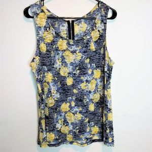 Relativity Tank Top Blue and Yellow Zip Size 1X